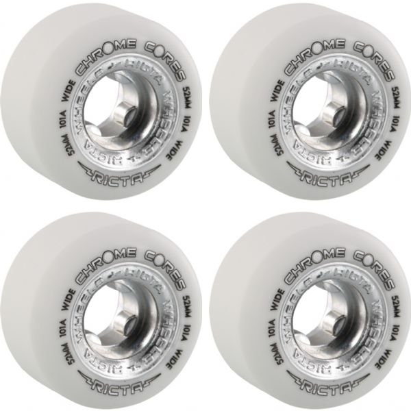 Ricta Wheels Chrome Core Wide White / Silver Skateboard Wheels - 52mm 101a (Set of 4)