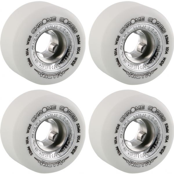 Ricta Wheels Chrome Core Wide White / Silver Skateboard Wheels - 53mm 101a (Set of 4)