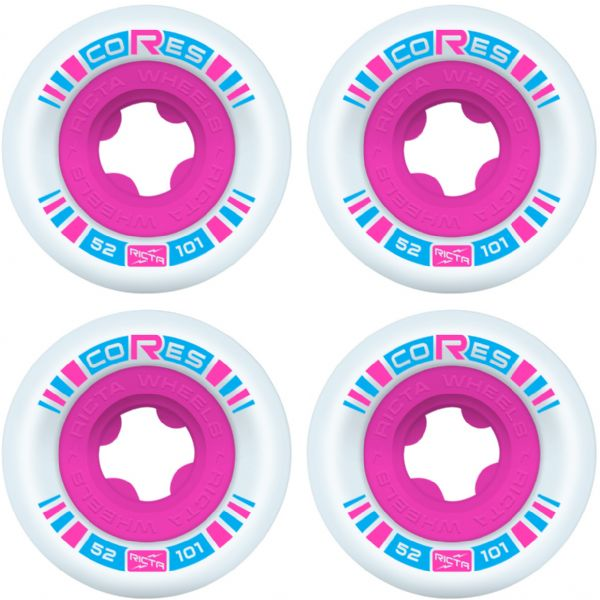 Ricta Wheels Cores White / Neon Pink Skateboard Wheels - 52mm 101a (Set of 4)
