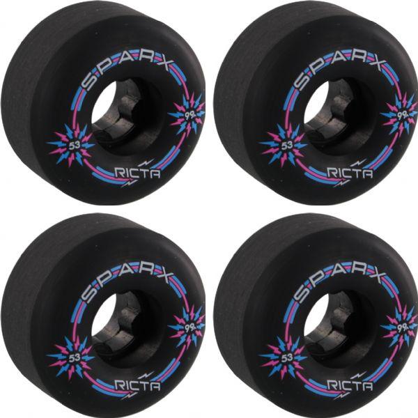 Ricta Wheels Sparx Black Skateboard Wheels - 53mm 99a (Set of 4)
