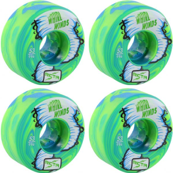 Ricta Wheels Whirlwinds Blue / Green Swirl Skateboard Wheels - 53mm 99a (Set of 4)