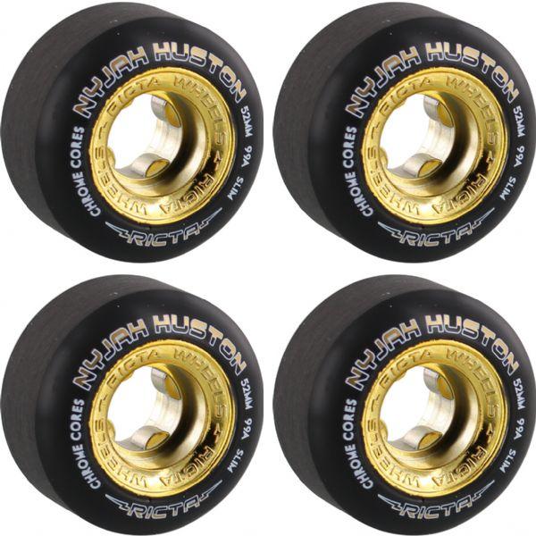 Ricta Wheels Nyjah Huston Chrome Core Slim Black / Gold Skateboard Wheels - 52mm 99a (Set of 4)