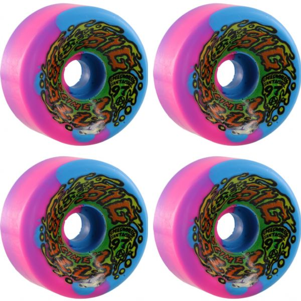 Santa Cruz Skateboards Slimeballs Big Balls Splat Blue / Pink Swirl Skateboard Wheels - 65mm 97a (Set of 4)