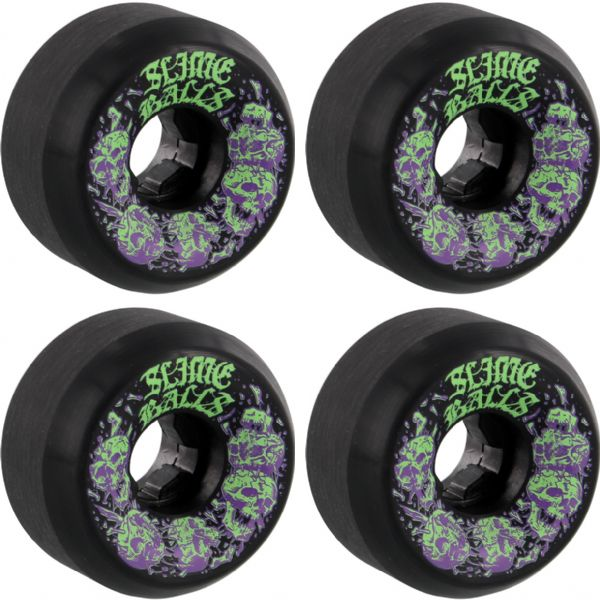 Santa Cruz Skateboards Slimeballs Skullbasher Black Skateboard Wheels - 58mm 97a (Set of 4)