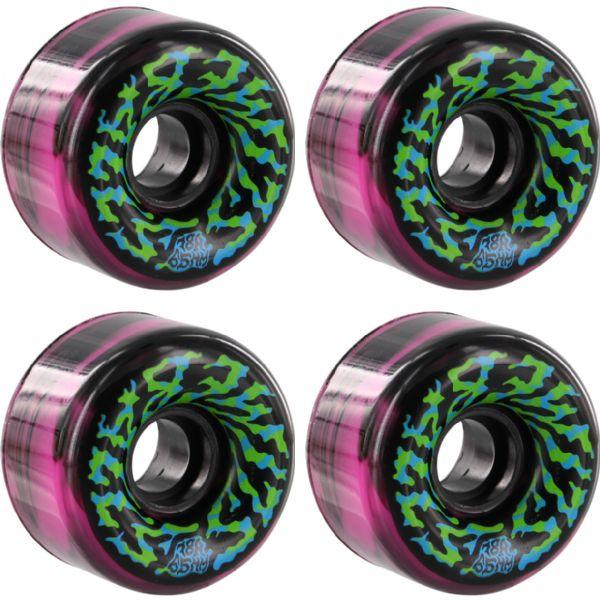 Santa Cruz Skateboards Slimeballs Swirly Black / Pink / W / Green / Blue Skateboard Wheels - 65mm 78a (Set of 4)