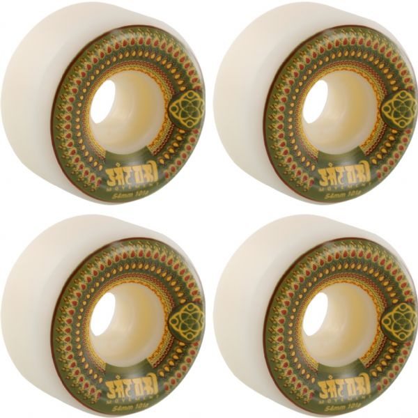 Satori Movement Mandala White / Green Skateboard Wheels - 54mm 101a (Set of 4)
