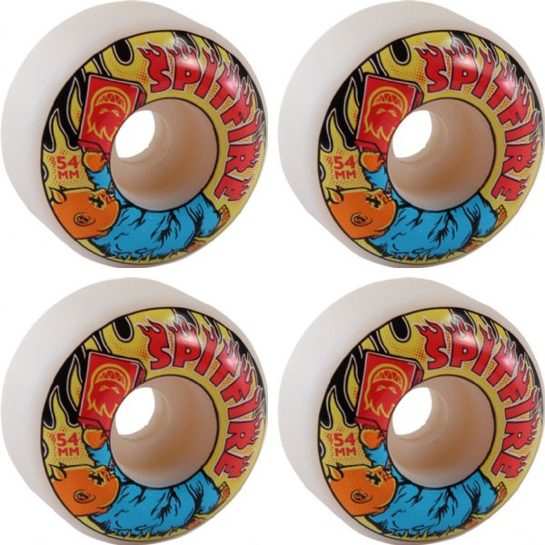 Spitfire Wheels Demonseed White Skateboard Wheels - 54mm 99a (Set of 4)