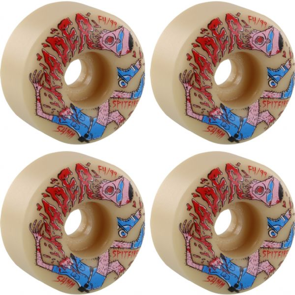 Spitfire Wheels Kader Sylla Formual Four Neckface Natural Skateboard Wheels - 54mm 99a (Set of 4)