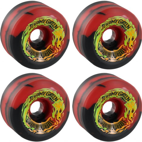 Speedlab Wheels Green Pro Special Edition Red / Black Swirl Skateboard Wheels - 59mm 99a (Set of 4)